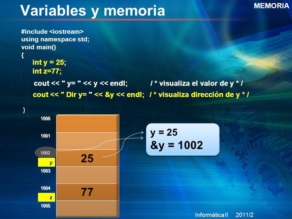 Variables y memoria 25 77 &y = 1002 y = 25 y = 25 MEMORIA int y = 25;