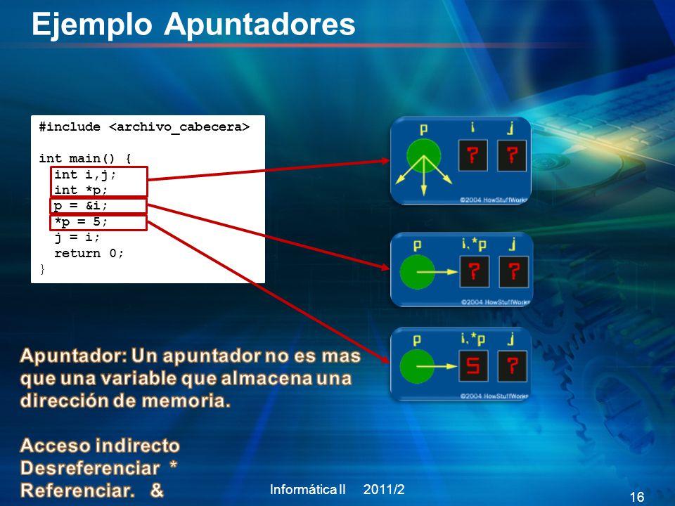 Ejemplo Apuntadores #include <archivo_cabecera> int main() { int i,j; int *p; p = &i; *p = 5; j = i;