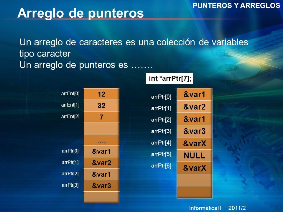 Arreglo de punteros PUNTEROS Y ARREGLOS. Un arreglo de caracteres es una colección de variables tipo caracter.
