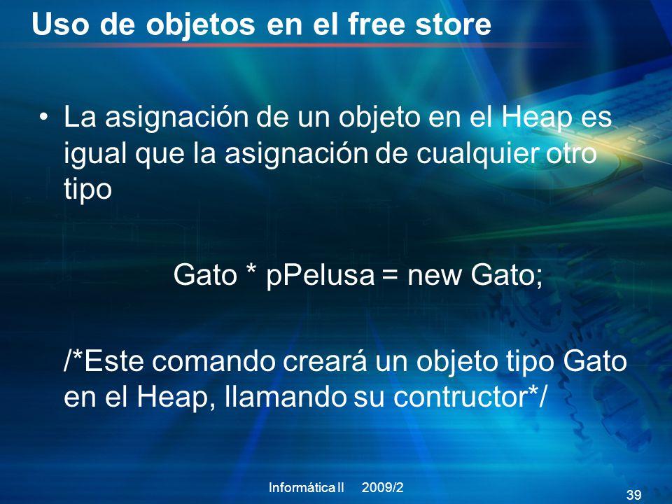 Uso de objetos en el free store