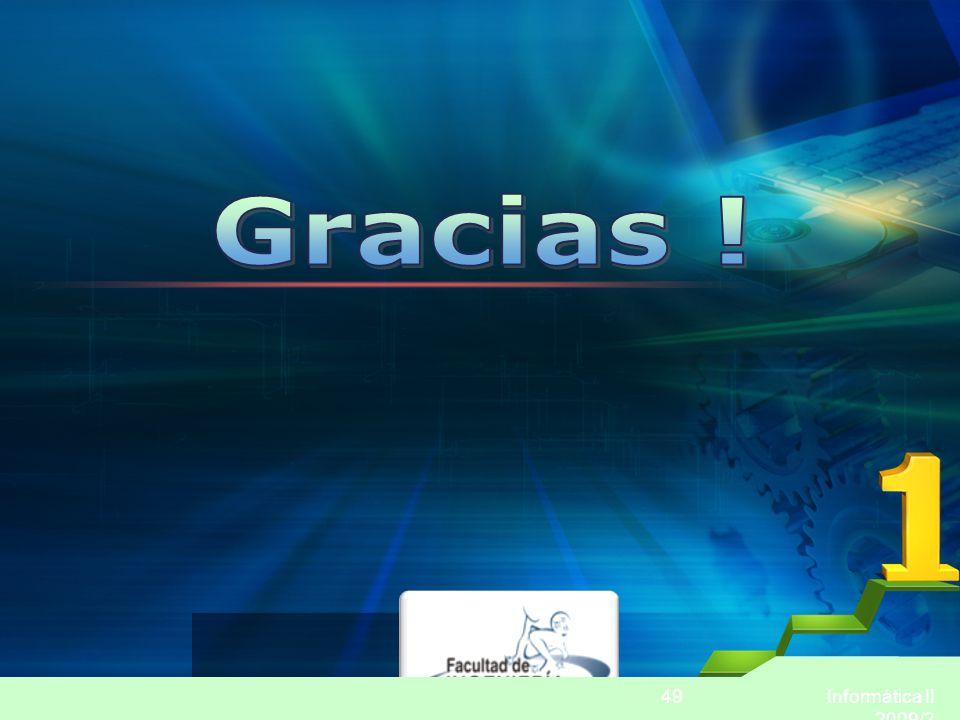 Gracias ! Informática II 2009/2