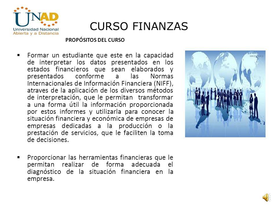 CURSO FINANZAS PROPÓSITOS DEL CURSO.