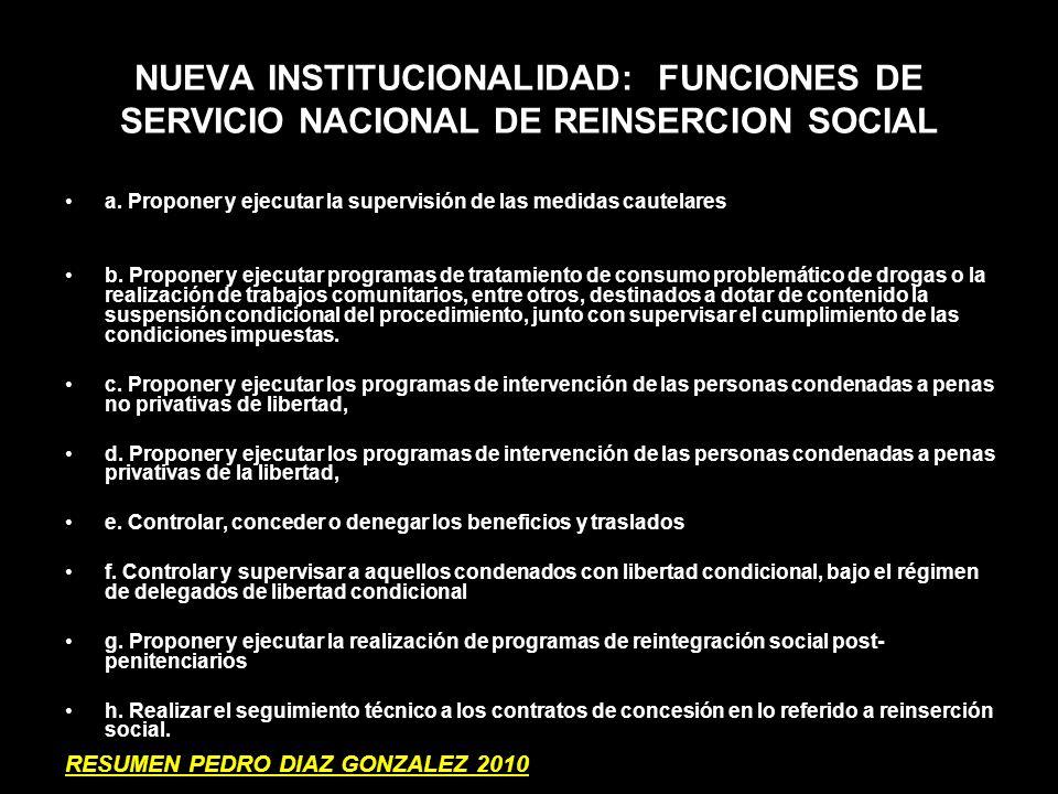 NUEVA INSTITUCIONALIDAD: FUNCIONES DE SERVICIO NACIONAL DE REINSERCION SOCIAL