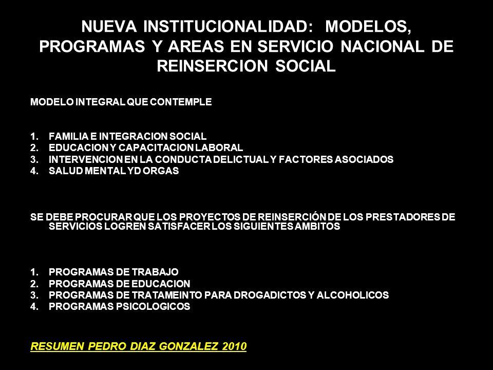 NUEVA INSTITUCIONALIDAD: MODELOS, PROGRAMAS Y AREAS EN SERVICIO NACIONAL DE REINSERCION SOCIAL