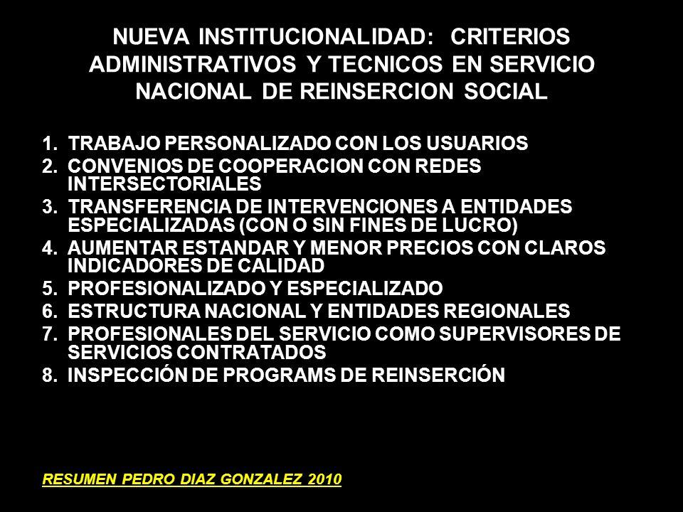 NUEVA INSTITUCIONALIDAD: CRITERIOS ADMINISTRATIVOS Y TECNICOS EN SERVICIO NACIONAL DE REINSERCION SOCIAL