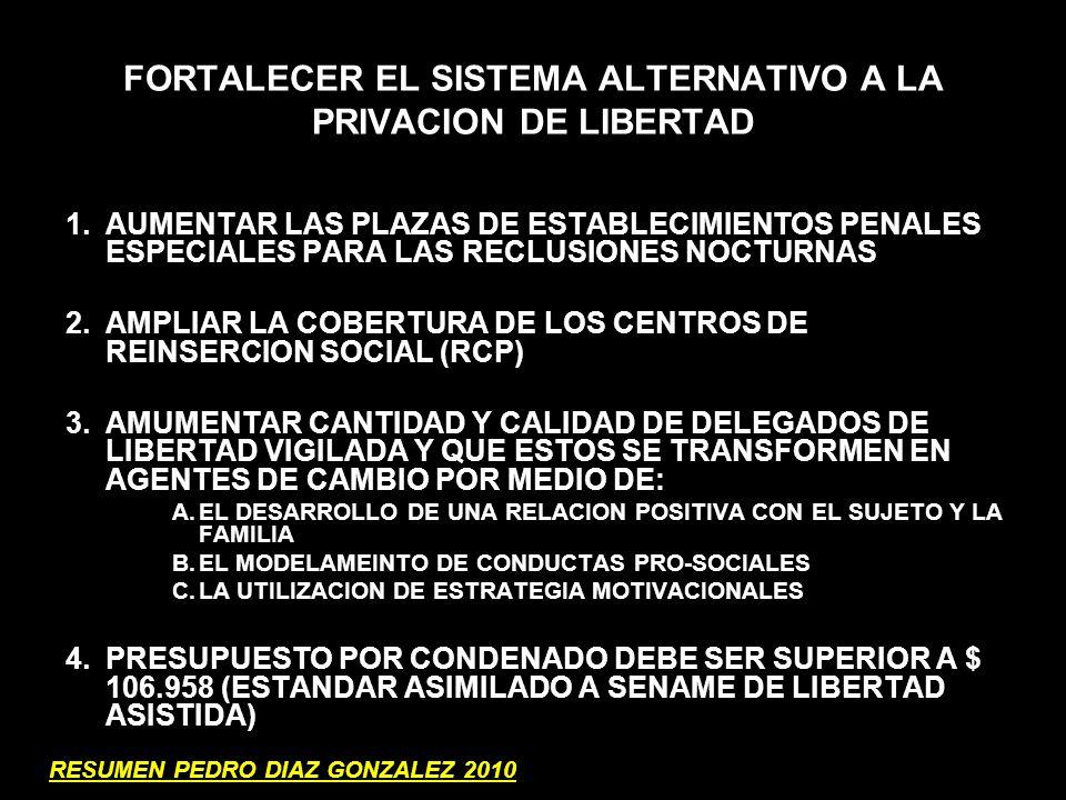 FORTALECER EL SISTEMA ALTERNATIVO A LA PRIVACION DE LIBERTAD