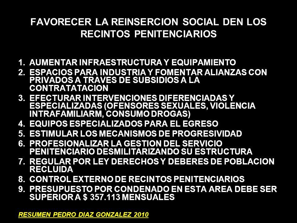 FAVORECER LA REINSERCION SOCIAL DEN LOS RECINTOS PENITENCIARIOS