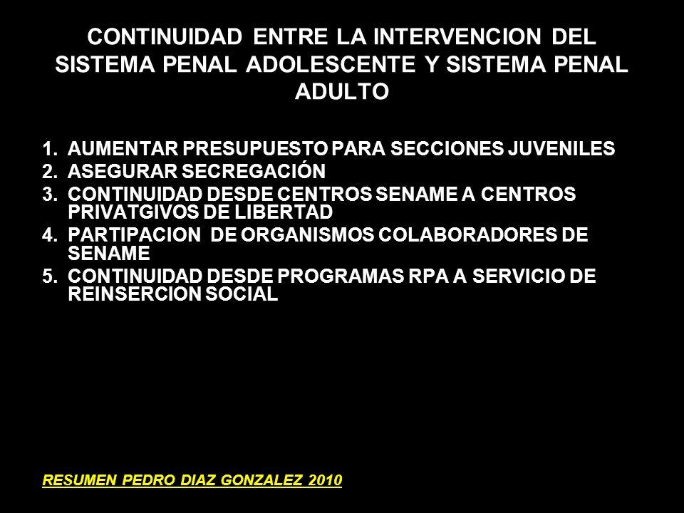 CONTINUIDAD ENTRE LA INTERVENCION DEL SISTEMA PENAL ADOLESCENTE Y SISTEMA PENAL ADULTO
