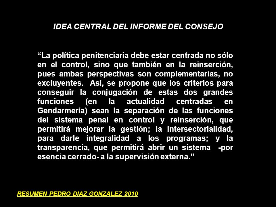 IDEA CENTRAL DEL INFORME DEL CONSEJO