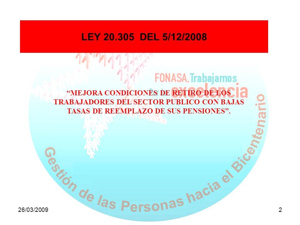 LEY 20.305 DEL 5/12/2008 MEJORA CONDICIONES DE RETIRO DE LOS TRABAJADORES DEL SECTOR PUBLICO CON BAJAS TASAS DE REEMPLAZO DE SUS PENSIONES .