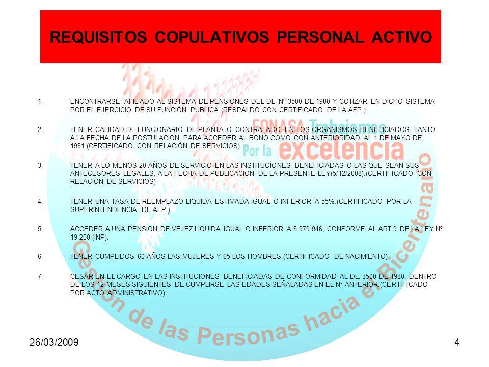 REQUISITOS COPULATIVOS PERSONAL ACTIVO