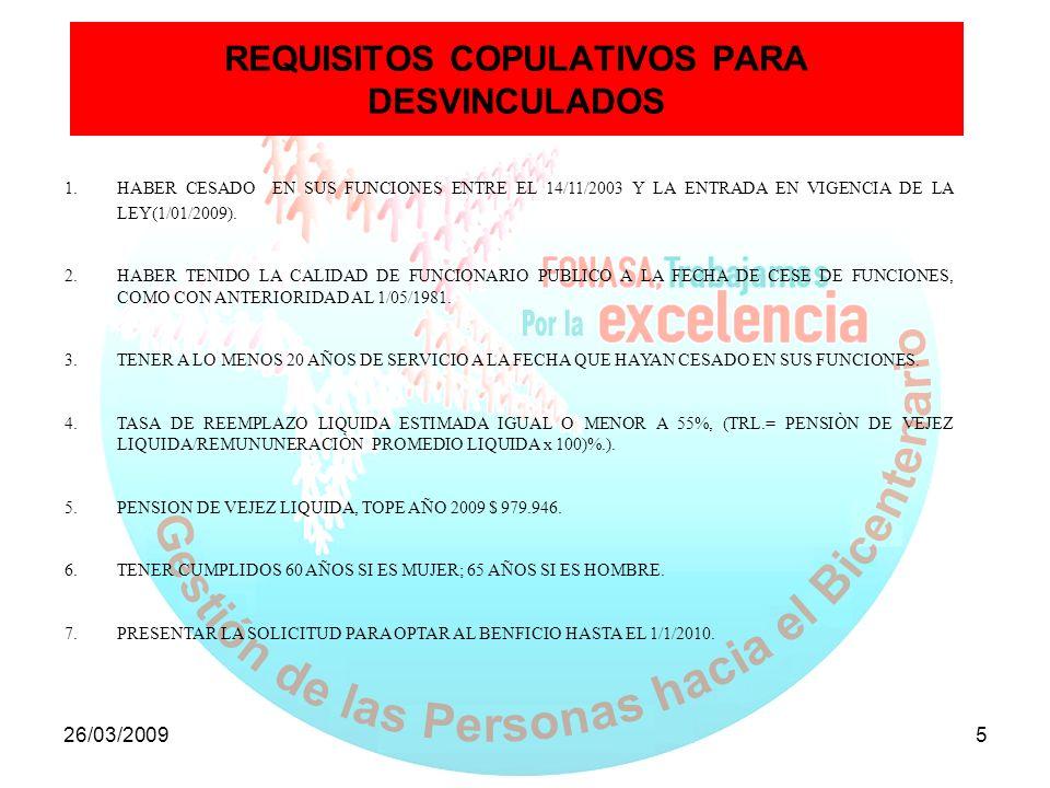REQUISITOS COPULATIVOS PARA DESVINCULADOS