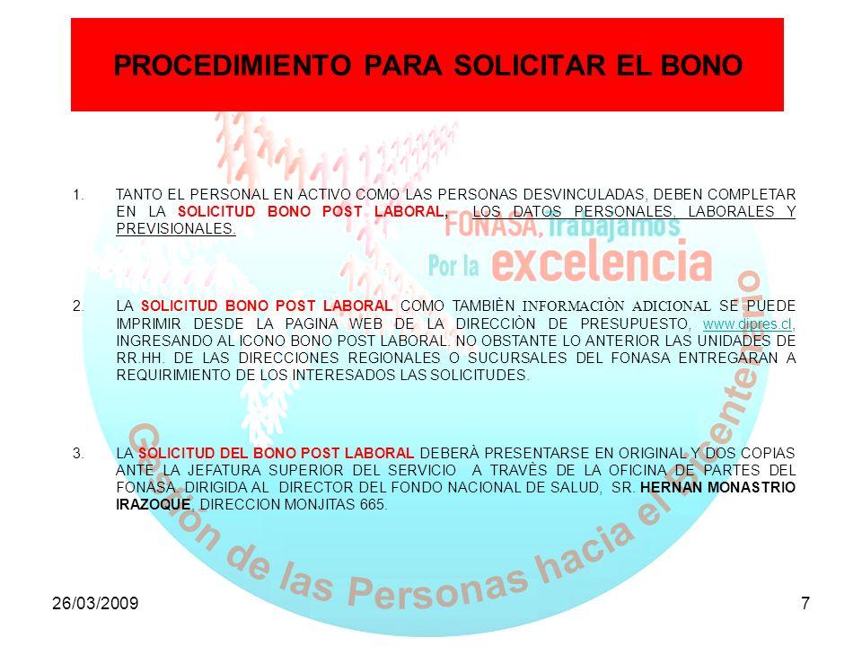 PROCEDIMIENTO PARA SOLICITAR EL BONO