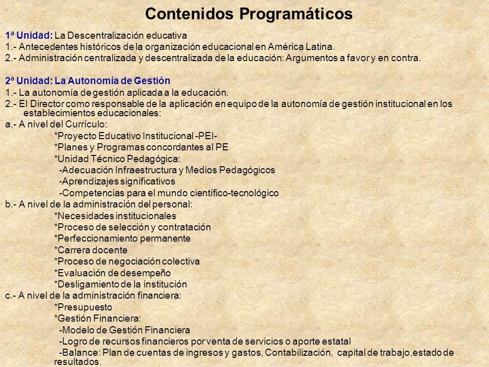 Contenidos Programáticos