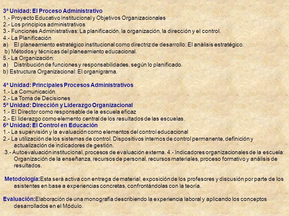 3ª Unidad: El Proceso Administrativo