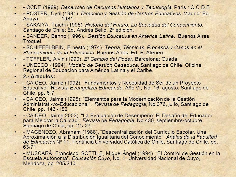 - OCDE (1989). Desarrollo de Recursos Humanos y Tecnología. Paris : O