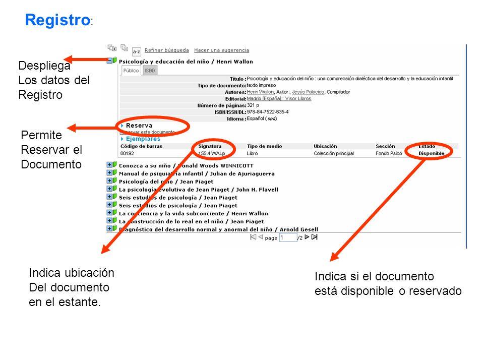 Registro: Despliega Los datos del Registro Permite Reservar el