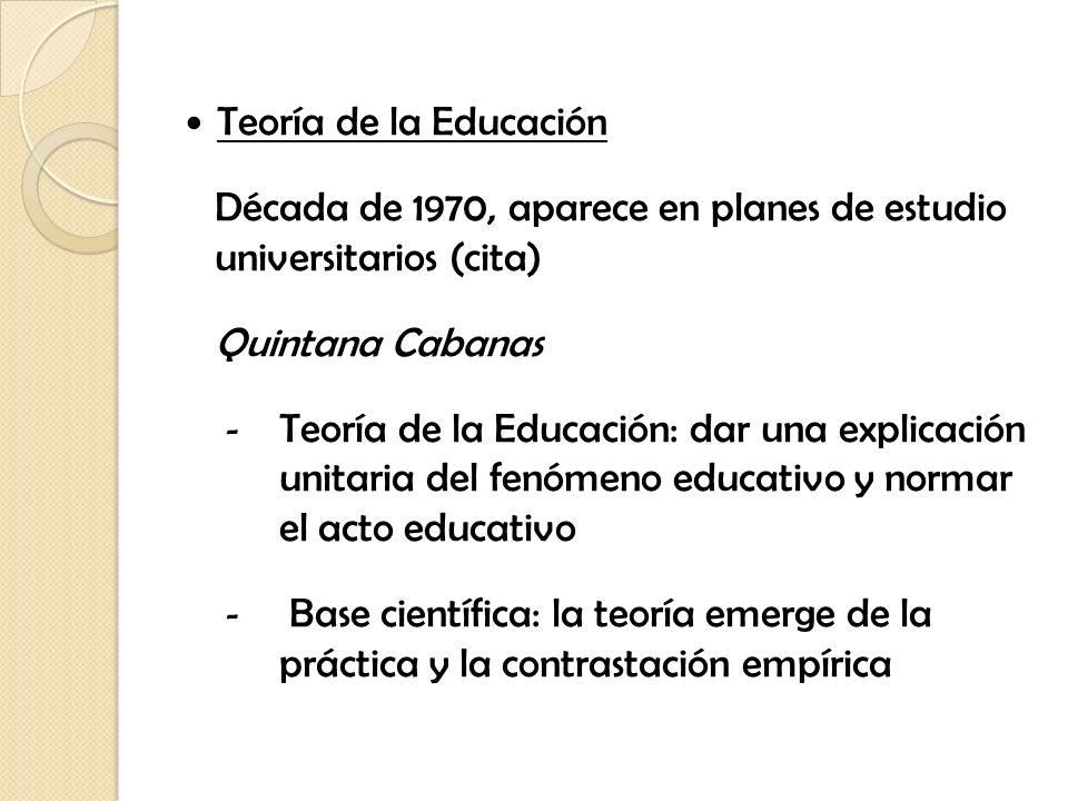 Teoría de la Educación Década de 1970, aparece en planes de estudio universitarios (cita) Quintana Cabanas.