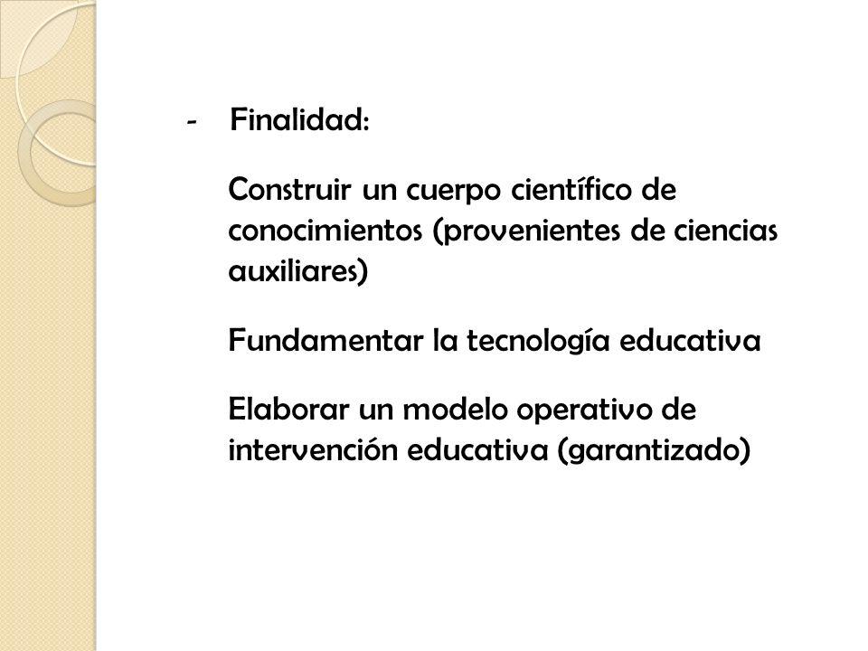 Finalidad: Construir un cuerpo científico de conocimientos (provenientes de ciencias auxiliares)