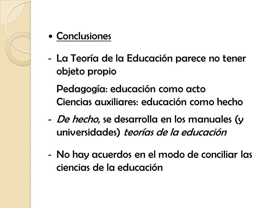 Conclusiones La Teoría de la Educación parece no tener objeto propio. Pedagogía: educación como acto.