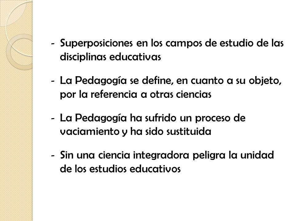 Superposiciones en los campos de estudio de las disciplinas educativas