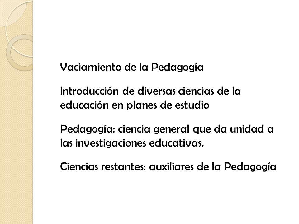 Vaciamiento de la Pedagogía Introducción de diversas ciencias de la educación en planes de estudio Pedagogía: ciencia general que da unidad a las investigaciones educativas.