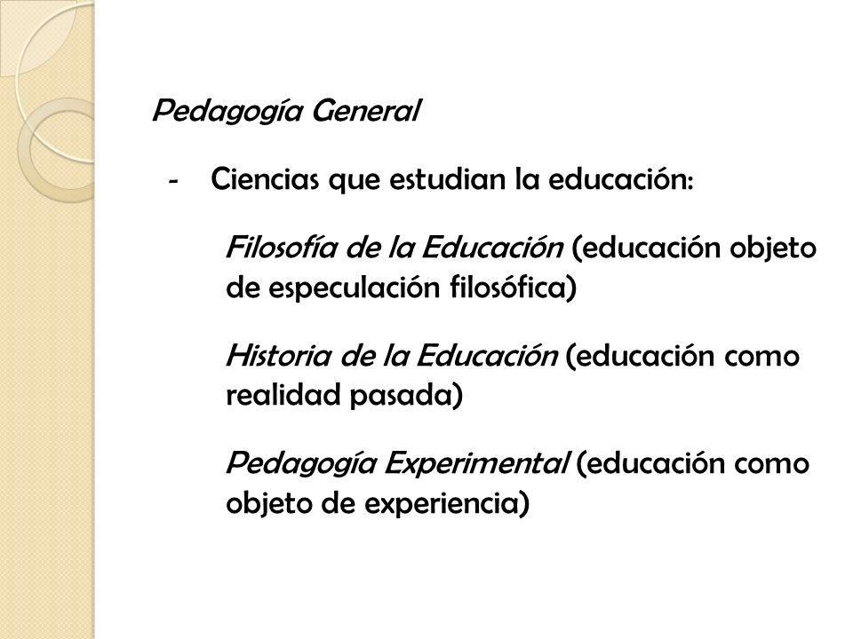 Pedagogía General Ciencias que estudian la educación: Filosofía de la Educación (educación objeto de especulación filosófica)