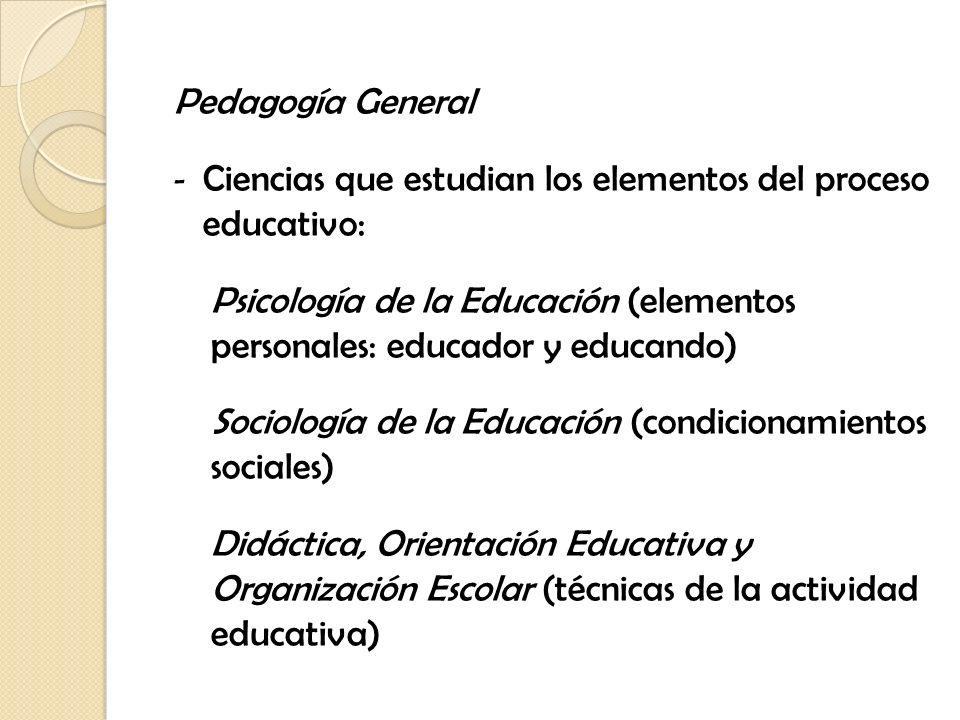Pedagogía General Ciencias que estudian los elementos del proceso educativo:
