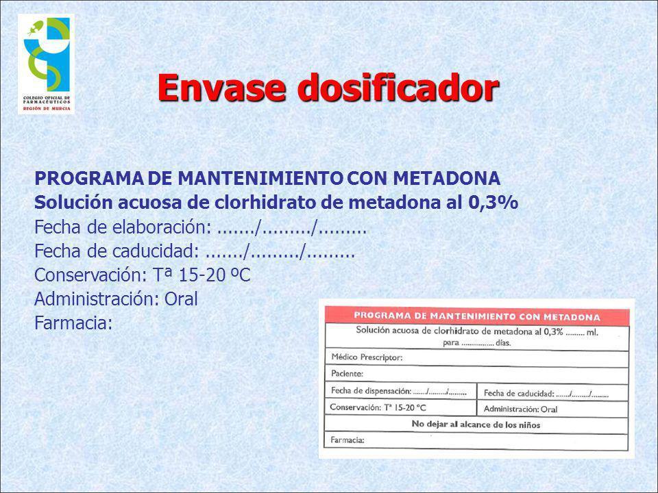 Envase dosificador PROGRAMA DE MANTENIMIENTO CON METADONA