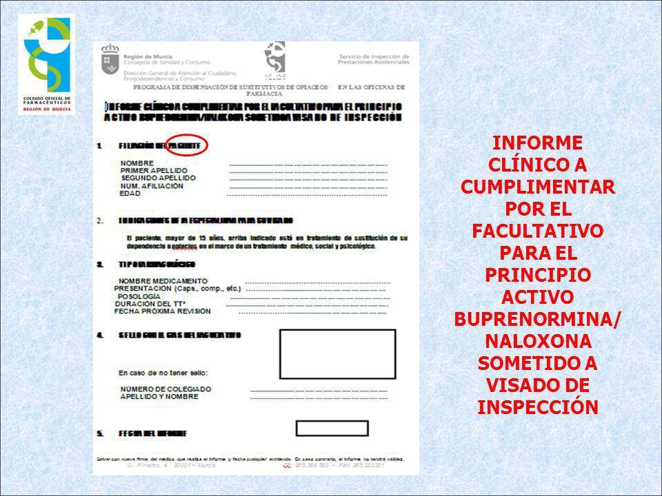 INFORME CLÍNICO A CUMPLIMENTAR POR EL FACULTATIVO PARA EL PRINCIPIO ACTIVO BUPRENORMINA/NALOXONA SOMETIDO A VISADO DE INSPECCIÓN