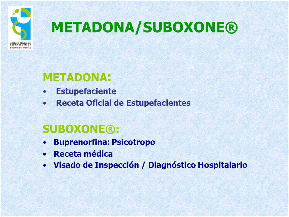 METADONA/SUBOXONE® METADONA: SUBOXONE®: Estupefaciente