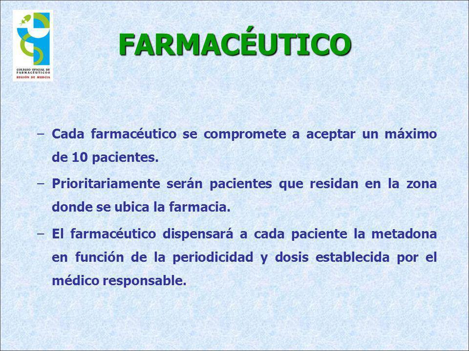 FARMACÉUTICO Cada farmacéutico se compromete a aceptar un máximo de 10 pacientes.