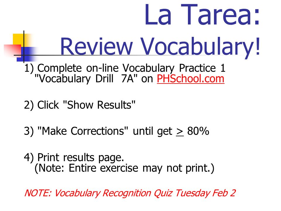La Tarea: Review Vocabulary!
