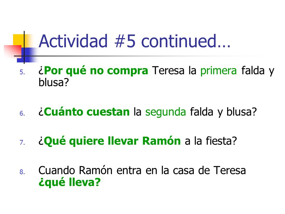 Actividad #5 continued…