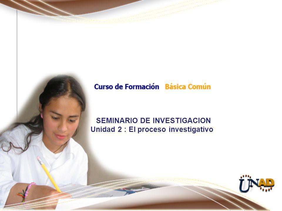 SEMINARIO DE INVESTIGACION Unidad 2 : El proceso investigativo