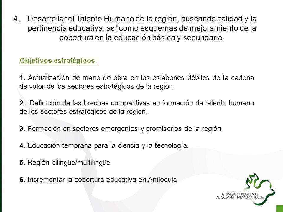 Desarrollar el Talento Humano de la región, buscando calidad y la pertinencia educativa, así como esquemas de mejoramiento de la cobertura en la educación básica y secundaria.