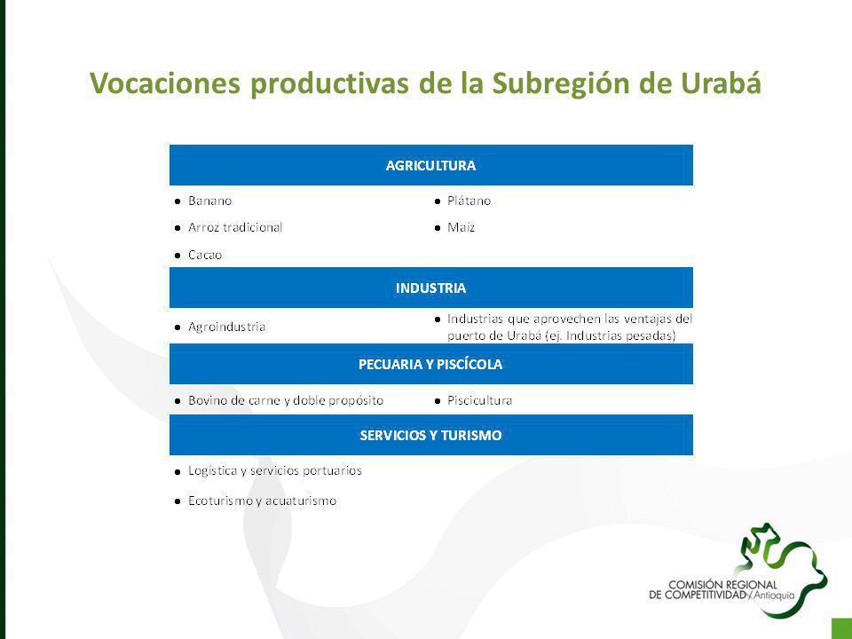 Vocaciones productivas de la Subregión de Urabá