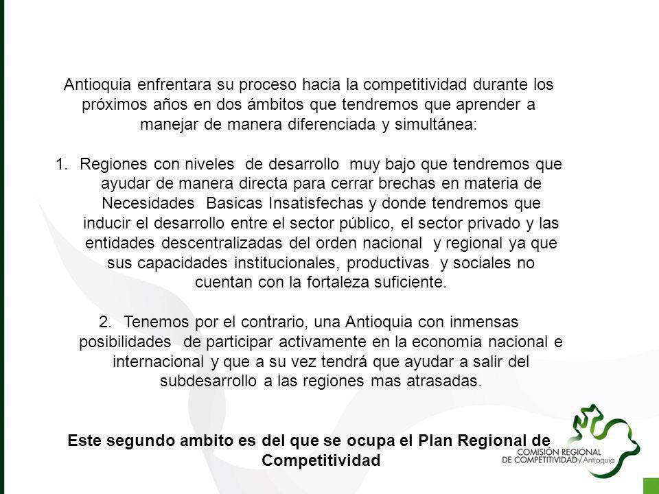 Antioquia enfrentara su proceso hacia la competitividad durante los próximos años en dos ámbitos que tendremos que aprender a manejar de manera diferenciada y simultánea: