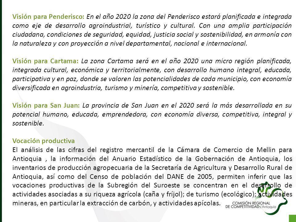 Visión para Penderisco: En el año 2020 la zona del Penderisco estará planificada e integrada como eje de desarrollo agroindustrial, turístico y cultural. Con una amplia participación ciudadana, condiciones de seguridad, equidad, justicia social y sostenibilidad, en armonía con la naturaleza y con proyección a nivel departamental, nacional e internacional.