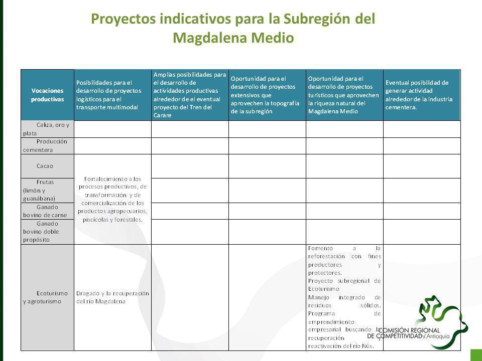 Proyectos indicativos para la Subregión del Magdalena Medio