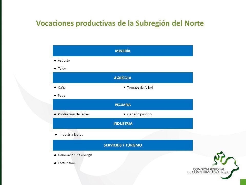 Vocaciones productivas de la Subregión del Norte