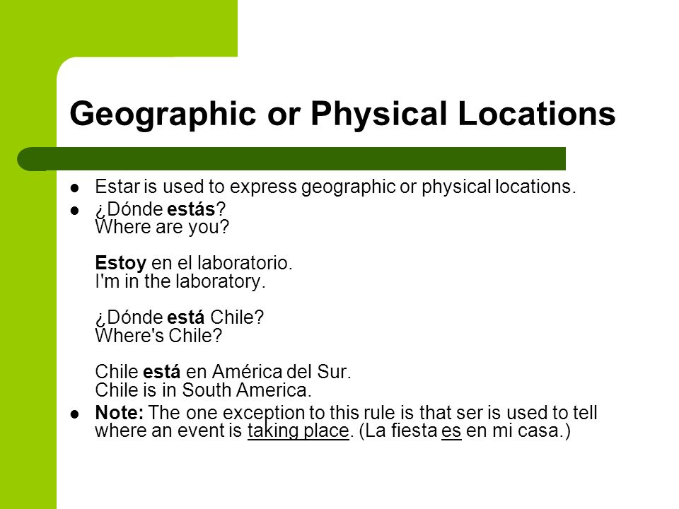 Geographic or Physical Locations