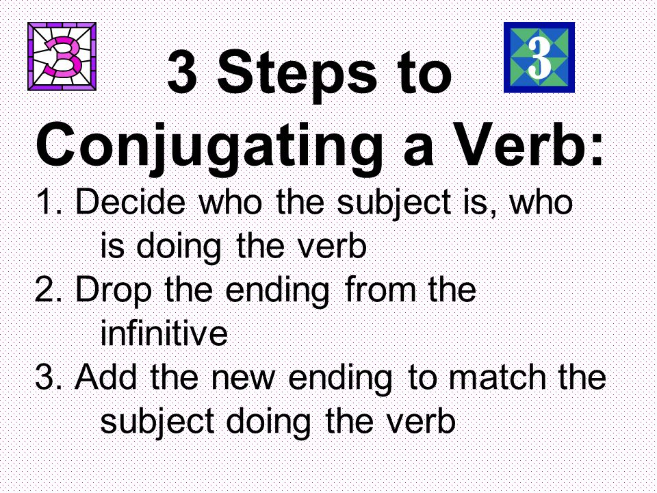 3 Steps to Conjugating a Verb: 1. Decide who the subject is, who