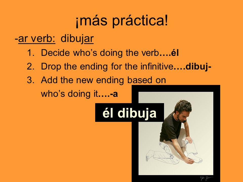 ¡más práctica! él dibuja -ar verb: dibujar