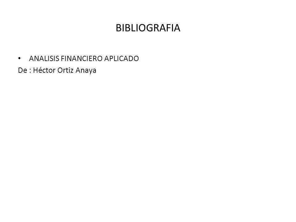 BIBLIOGRAFIA ANALISIS FINANCIERO APLICADO De : Héctor Ortiz Anaya