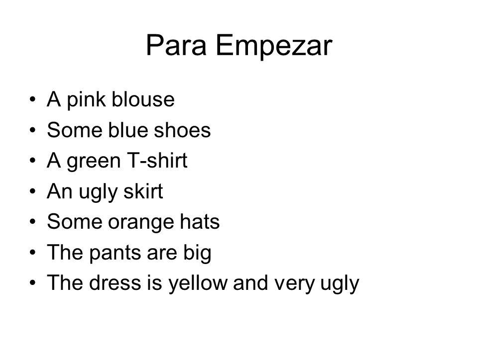 Para Empezar A pink blouse Some blue shoes A green T-shirt
