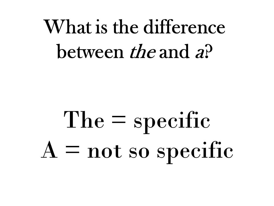 What is the difference between the and a