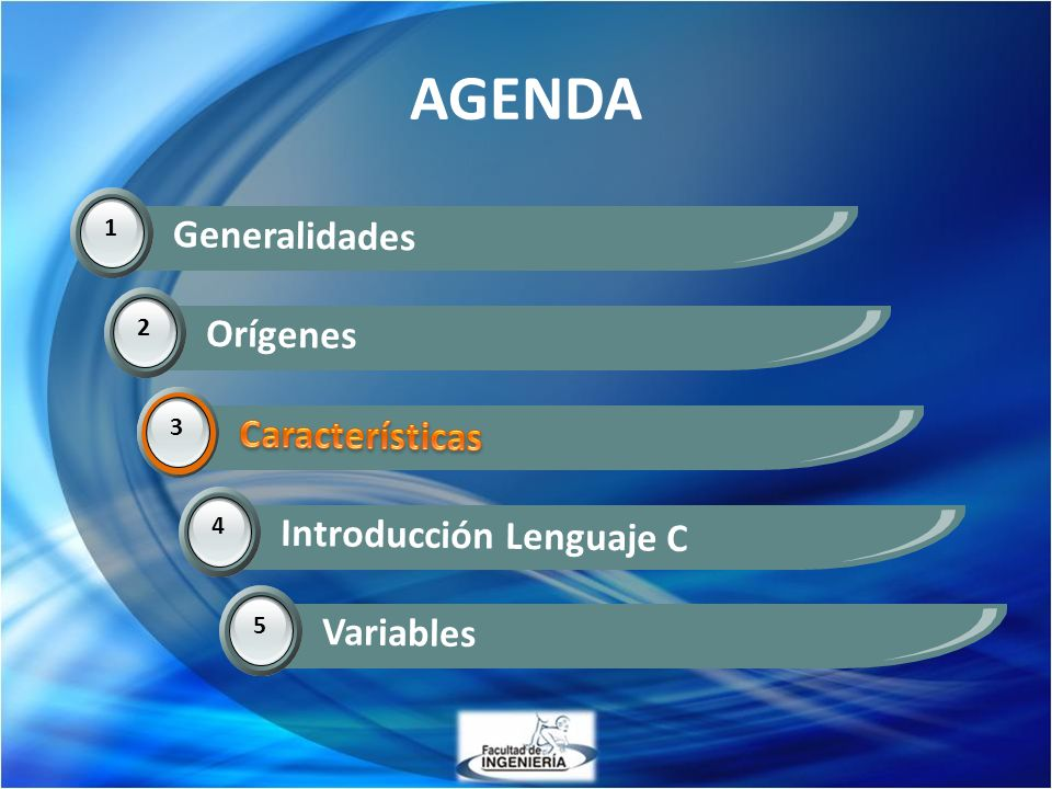 AGENDA Generalidades Orígenes Características Características