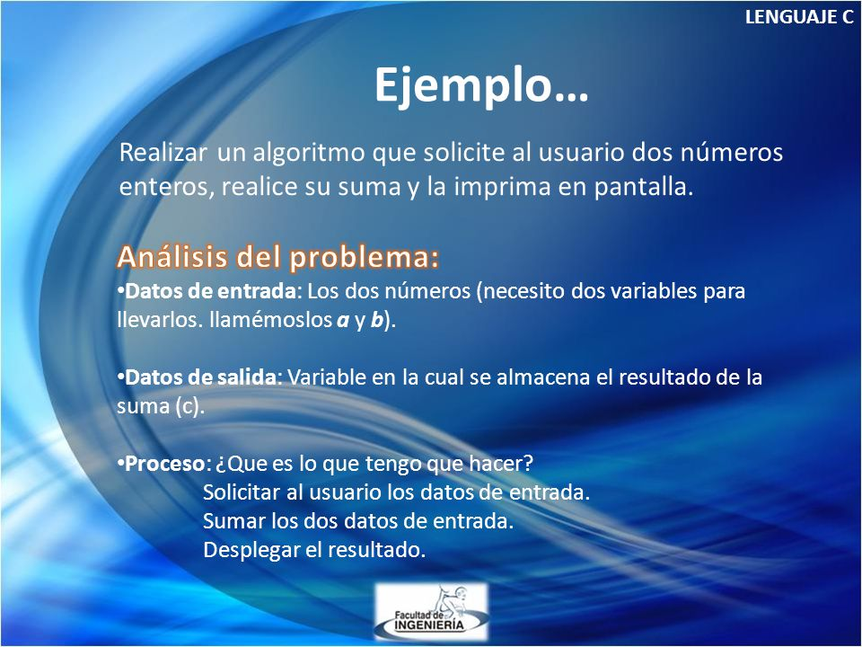 Ejemplo… Análisis del problema: