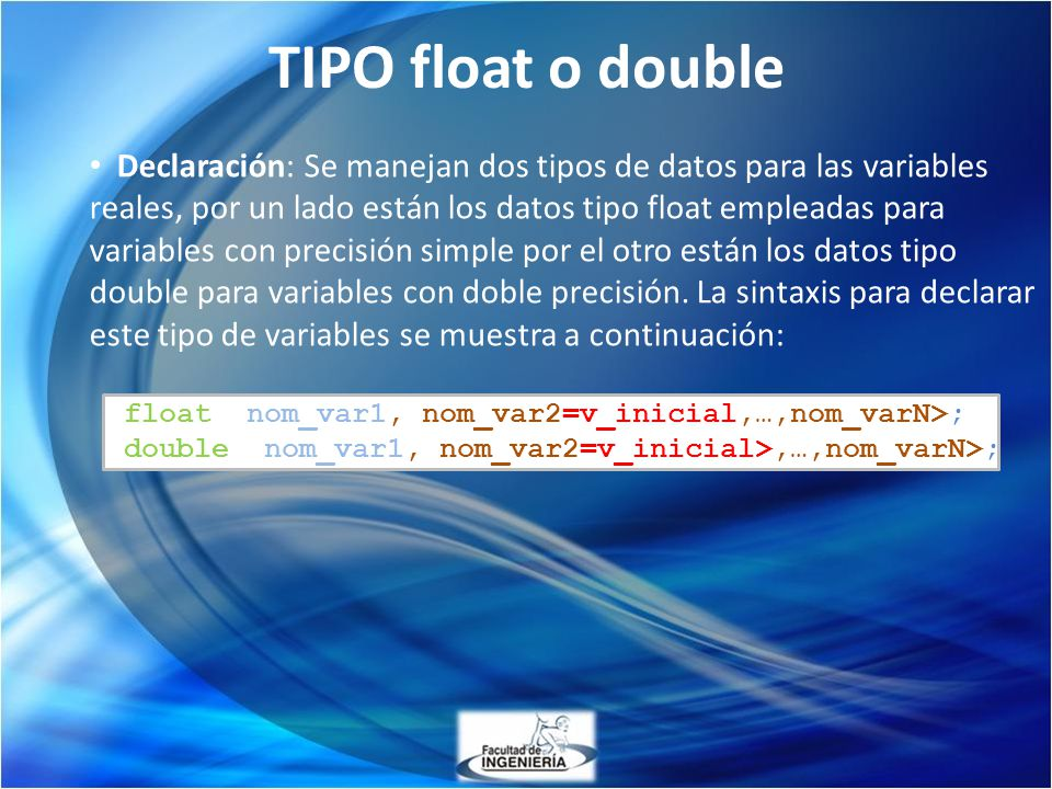 TIPO float o double